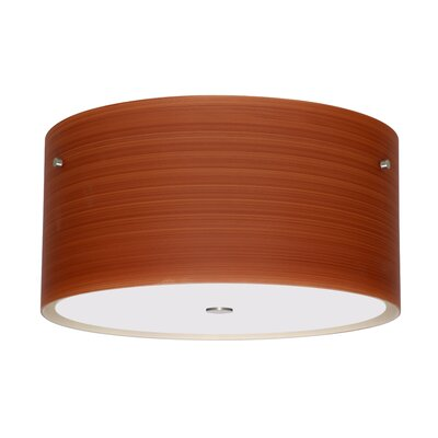 Tamburo 3-Light Flush Mount Size / Shade Color: 8.125 / Cherry, Finish: Satin Nickel