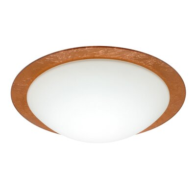 Besa Flush Mount Size: 5.25 H x 19 W x 19 D, Glass Shade: Copper Foil