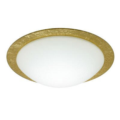 Besa Flush Mount Size: 5.25 H x 19 W x 19 D, Glass Shade: Gold Foil