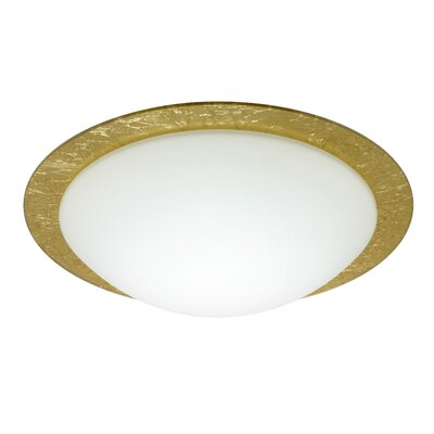 Besa Flush Mount Glass Shade: Gold Foil, Size: 3.875 H x 12.625 W x 12.625 D