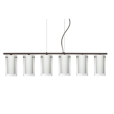 Pahu 6 Light Kitchen Island Pendant Finish: Bronze, Shade Color: Clear/Opal