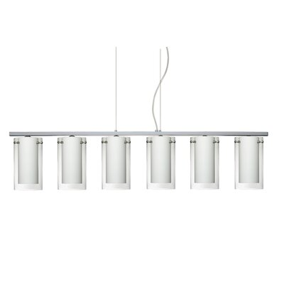 Pahu 6 Light Kitchen Island Pendant Finish: Polished Nickel, Shade Color: Clear/Opal