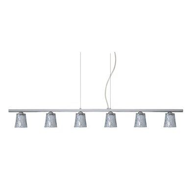 Nico 6 Light Linear Pendant Finish: Polished Nickel, Glass Shade: Stone Silver Foil