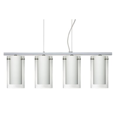 Pahu 4 Light Kitchen Island Pendant Finish: Polished Nickel, Shade Color: Clear/Opal