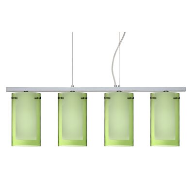 Pahu 4 Light Kitchen Island Pendant Finish: Polished Nickel, Shade Color: Transparent Olive/Opal