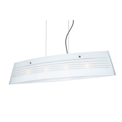 Silhouette Pendant Size / Glass Shade: 6.75 H x 35.5 W x 5.875 D / Opal Cut, Finish: Bronze