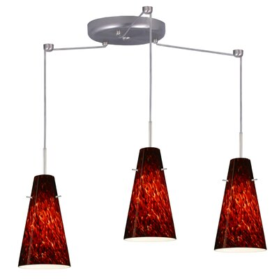 Cierro 3 Light Pendant Finish: Satin Nickel, Glass Shade: Garnet