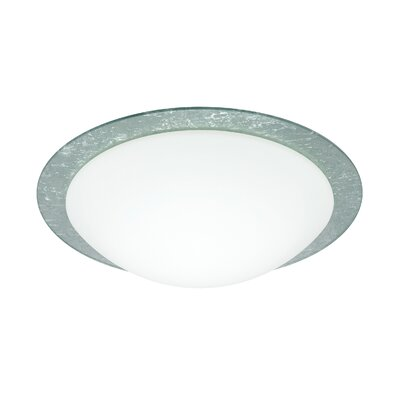 Ring 1-Light Flush Mount Glass Shade: White / Silver Foil