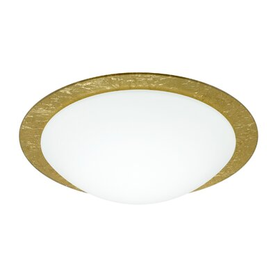 Ring 1-Light Flush Mount Glass Shade: White / Gold Foil