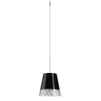 Amelia 1 Light Mini Pendant Finish: Satin Nickel, Glass Shade: Black Hand-cut, Bulb Type: Incandescent