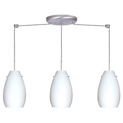 Pera 3 Light Linear Pendant Finish: Bronze, Glass Shade: Habanero, Bulb Type: LED
