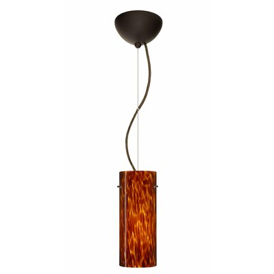 Stilo 1-Light Mini Pendant Finish: Bronze, Shade Color: Amber Cloud, Bulb Type: Incandescent