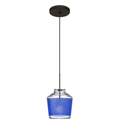 Pica 1-Light Mini Pendant Finish: Brushed Bronze, Shade Color: Blue
