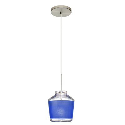 Pica 1-Light Mini Pendant Shade Color: Blue, Finish: Satin Nickel