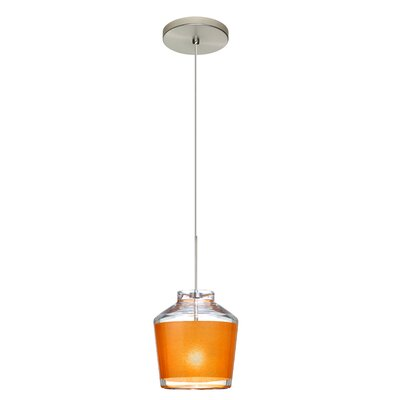 Pica 1-Light Mini Pendant Finish: Satin Nickel, Shade Color: Gold