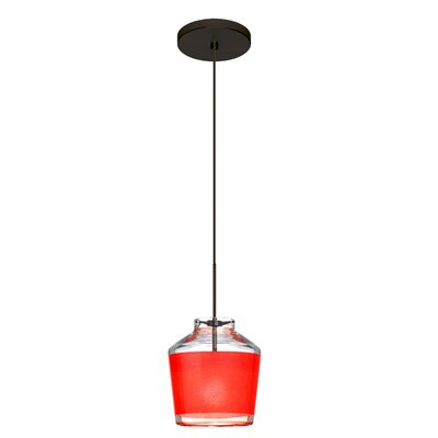 Pica 1-Light Mini Pendant Finish: Brushed Bronze, Shade Color: Red