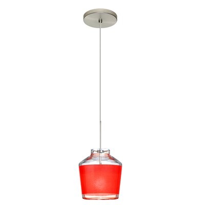 Pica 1-Light Mini Pendant Finish: Satin Nickel, Shade Color: Red