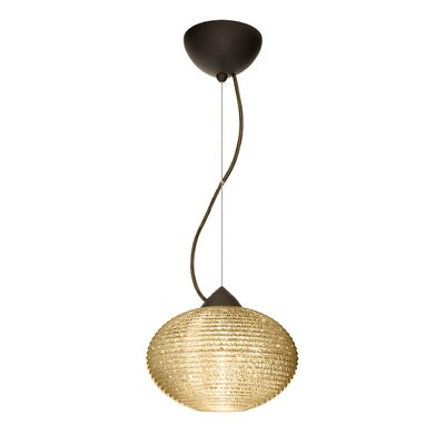 Pape 1-Light Globe Pendant Finish: Brushed Bronze, Shade Color: Gold Glitter, Size: 6.88 H x 10.25 W x 10.25 D