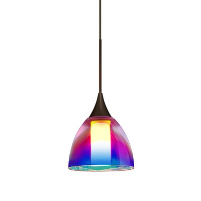 Cavan 1 LED Integrated Bulb Mini Pendant Finish: Brushed Bronze, Shade Color: Pink Dicro