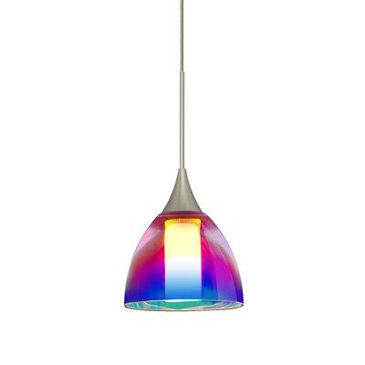Cavan 1-Light Mini Pendant Shade Color: Pink Dicro, Finish: Satin Nickel
