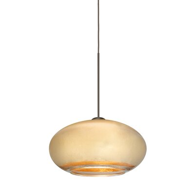 Brio 1-Light Globe Pendant Finish: Brushed Bronze, Shade Color: Gold Foil