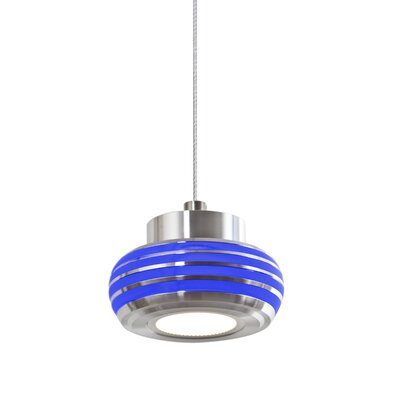 Flower 1-Light Mini Pendant Shade Color: Blue