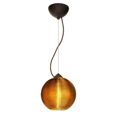 Kristall 1-Light Globe Pendant Finish: Satin Nickel, Shade Color: Amber