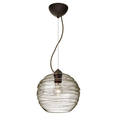 Wave 1-Light Globe Pendant Finish: Brushed Bronze, Shade Color: Smoke
