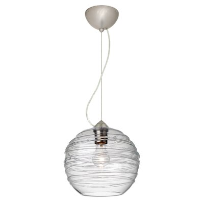 Wave 1-Light Globe Pendant Finish: Satin Nickel, Shade Color: Clear
