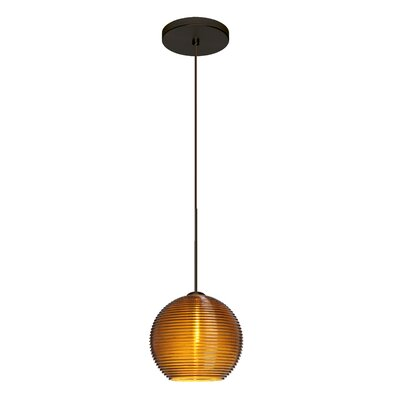 Kristall 1-Light Mini Pendant Finish: Brushed Bronze, Shade Color: Amber