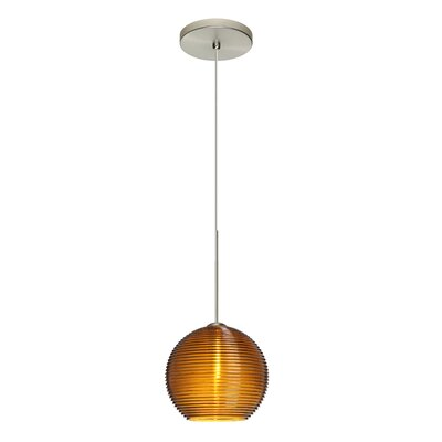 Kristall 1-Light Mini Pendant Shade Color: Amber, Finish: Satin Nickel