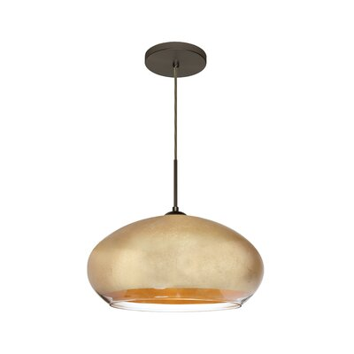 Brio 1-Light Inverted Pendant Finish: Brushed Bronze, Shade Color: Gold Foil
