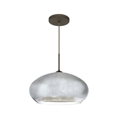 Brio 1-Light Inverted Pendant Finish: Brushed Bronze, Shade Color: Silver Foil