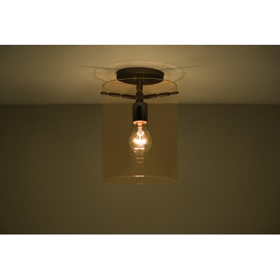 Pahu 1-Light Semi Flush Mount Finish: Brushed Bronze, Shade Color: Armagnac