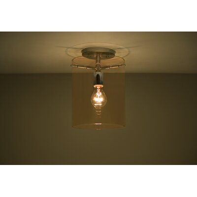 Pahu 1-Light Semi Flush Mount Finish: Satin Nickel, Shade Color: Armagnac