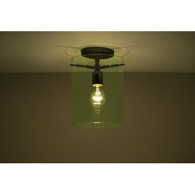 Pahu 1-Light Semi Flush Mount Finish: Brushed Bronze, Shade Color: Olive