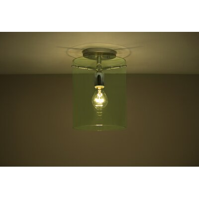 Pahu 1-Light Semi Flush Mount Finish: Satin Nickel, Shade Color: Olive