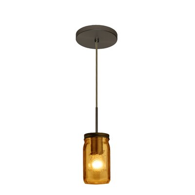 Milo 1-Light Mini Pendant Finish: Brushed Bronze, Shade Color: Amber