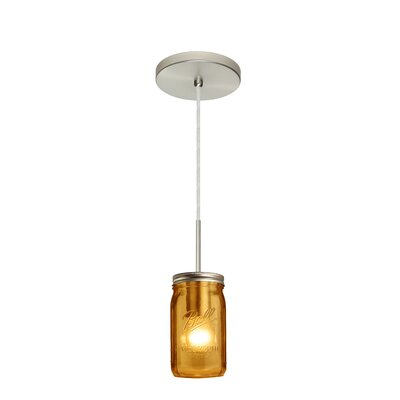 Milo 1-Light Mini Pendant Shade Color: Amber, Finish: Satin Nickel