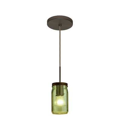 Milo 1-Light Mini Pendant Finish: Brushed Bronze, Shade Color: Green