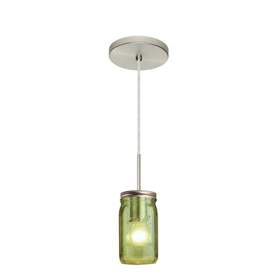 Milo 1-Light Mini Pendant Finish: Satin Nickel, Shade Color: Green