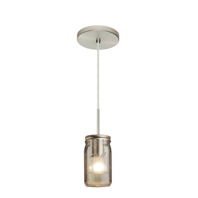 Milo 1-Light Mini Pendant Finish: Satin Nickel, Shade Color: Smoke