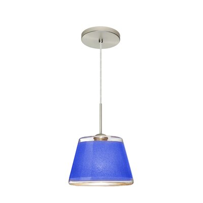 Pica 1-Light Mini Pendant Finish: Satin Nickel, Shade Color: Blue