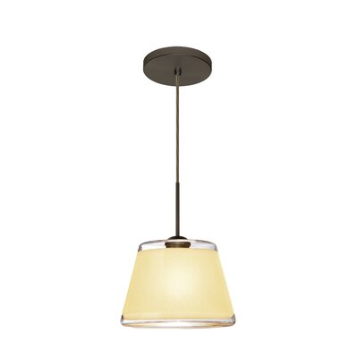 Pica 1-Light Mini Pendant Shade Color: Creme, Finish: Brushed Bronze
