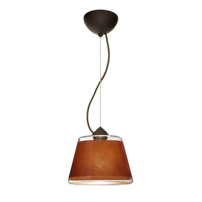 Pica 1 LED Integrated Bulb Drum Pendant Finish: Brushed Bronze, Shade Color: Tan