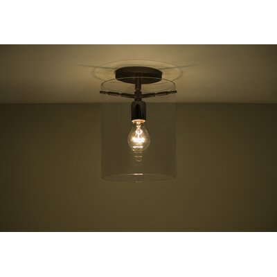 Pahu 1-Light Semi Flush Mount Finish: Brushed Bronze, Shade Color: Smoke
