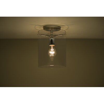 Pahu 1-Light Semi Flush Mount Finish: Satin Nickel, Shade Color: Smoke