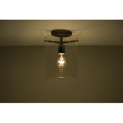 Pahu 1-Light Semi Flush Mount Finish: Brushed Bronze, Shade Color: Clear