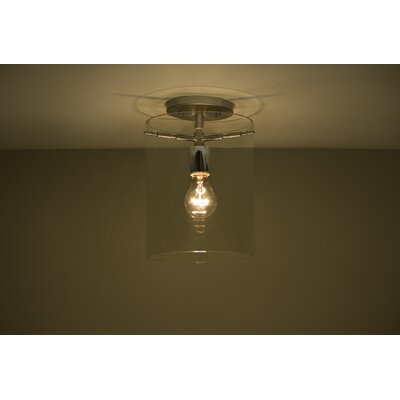 Pahu 1-Light Semi Flush Mount Finish: Satin Nickel, Shade Color: Clear