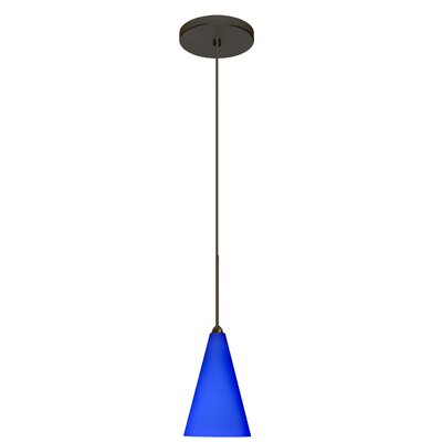 Kiki 1-Light Mini Pendant Finish: Brushed Bronze, Shade Color: Cobalt Blue Matte